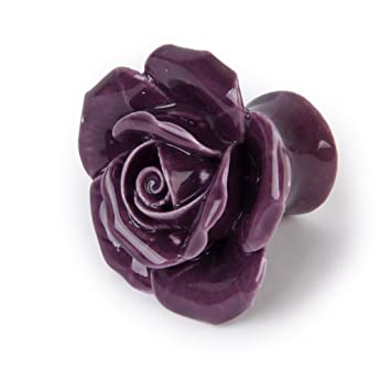 HUAJI 2pcs Rose Flower Shaped Drawer Cabinet Door Knob Ceramic Handles  Purple