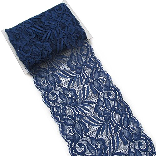5 Yards 5-7/8'' Navy Blue Stretch Polyester Embroidery Eyelet Lace Trims by Trimscraft