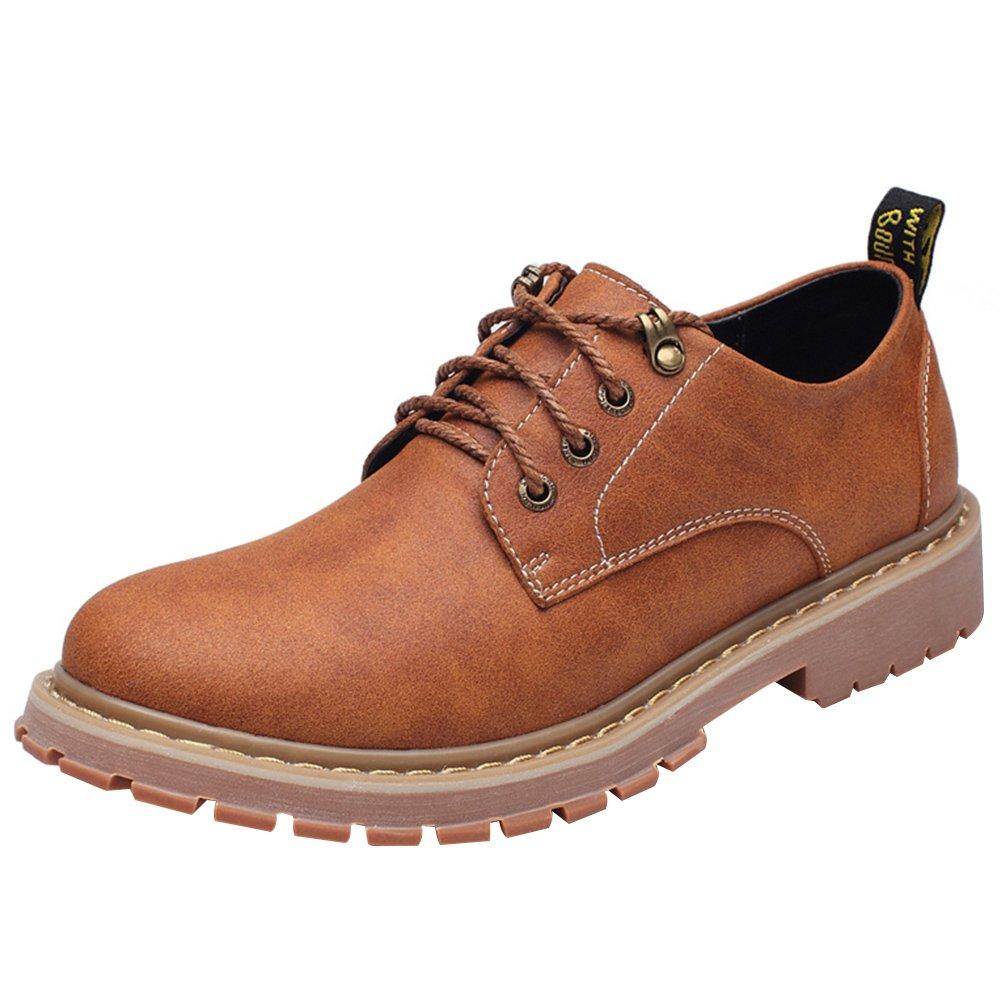 Shenn Men's Work Space Casual Comfort Cow Split Leather Lace-Ups Oxfords Shoes 17057(Tan,us6.5)