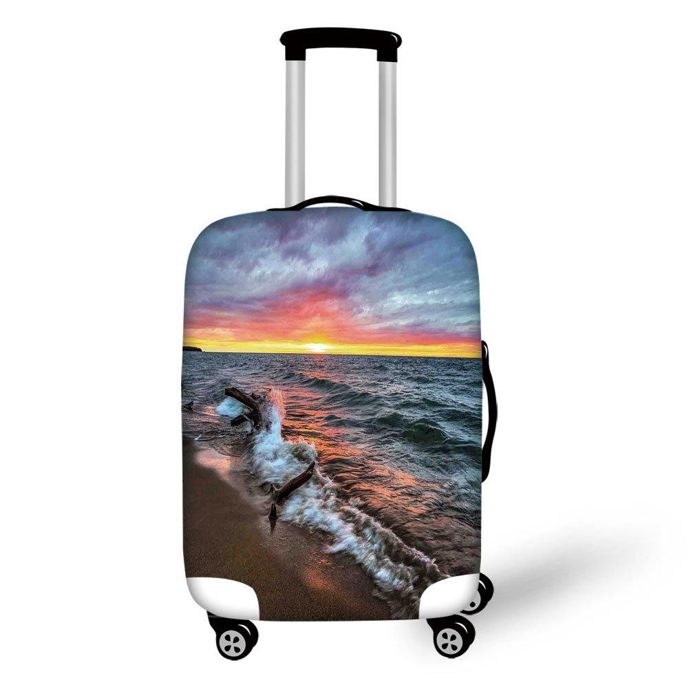 Travel Luggage Cover Suitcase Protector,Driftwood Decor,Driftwood on the Shores of the Lake Set against Sunset Horizon Image,Blue Grey Orange,for Travel