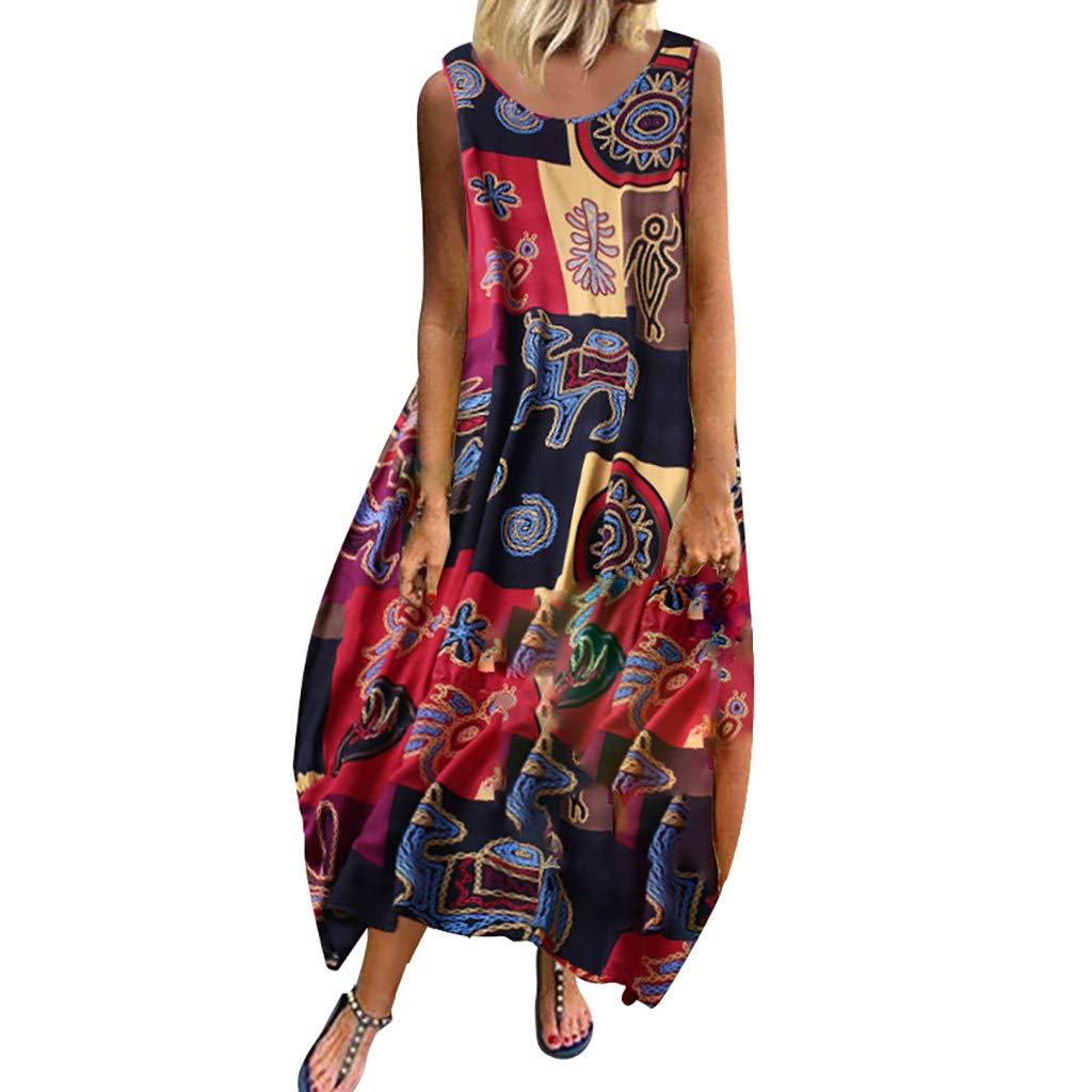 Fuibo V/êtements Femme Robe /Ét/é Femme de Plage R/étro Robes Lin Robes au Genou//Maxi Robe sans Manches//Floral Casual Tuniques Robe de Soir/ée Cocktail Boh/ême Robe