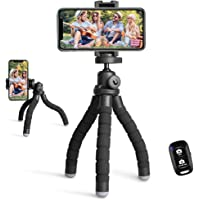 Phone Tripod Stand, Portable Cellphone Camera Tripod with Bluetooth Remote, Compatible with iPhone and Android Phone…