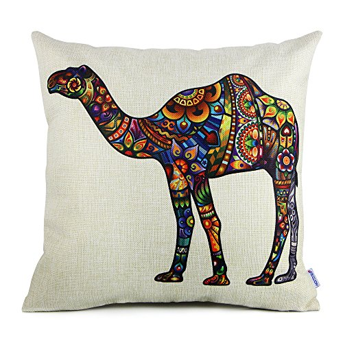 Standard Throw Pillow Cover Sizes : 18 x 18 Standard Size Camel Print Pattern Decorative Pillow - Import It All
