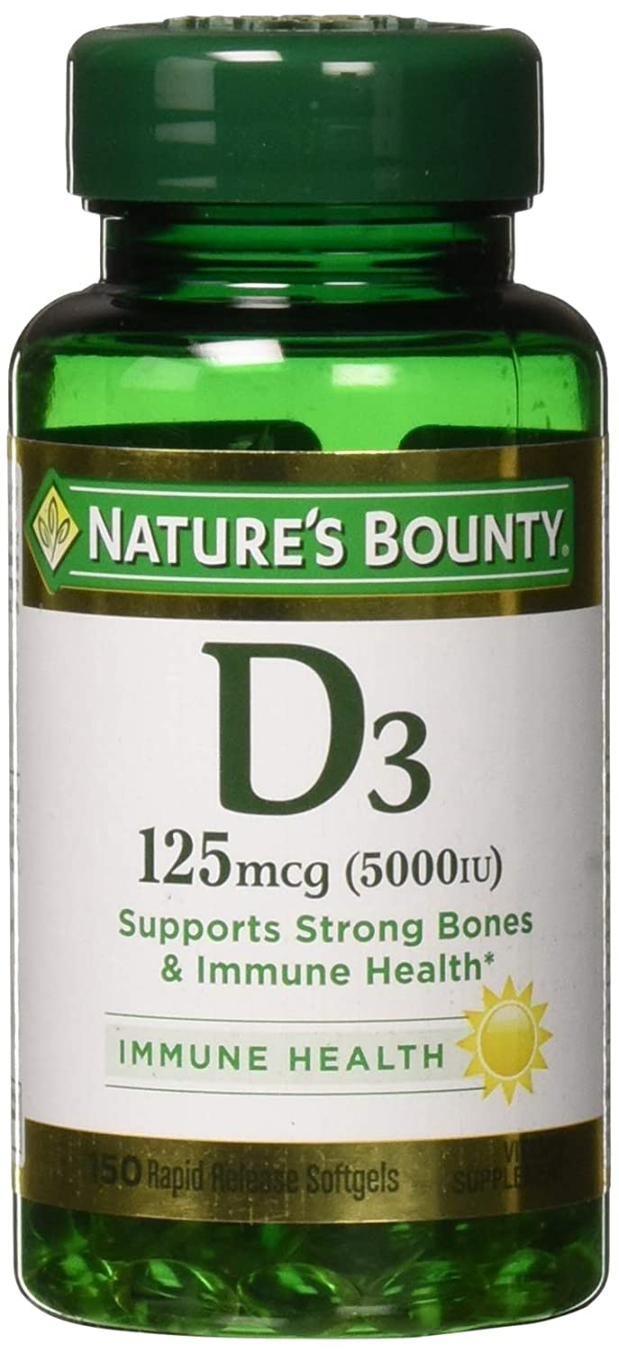 Nature's Bounty Vitamin D3 Pills and Supplement, Supports Bone Health and Immune System, 5000iu, 150 Softgels
