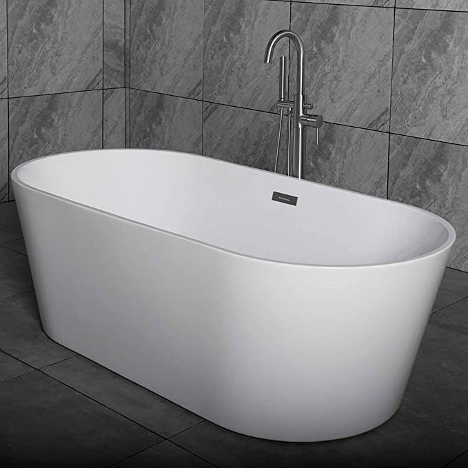 Woodbridge 59 Acrylic Freestanding Bathtub Contemporary Soaking Tub With Brushed Nickel Overflow And Drain B 0014 Bta1514 Amazon Com