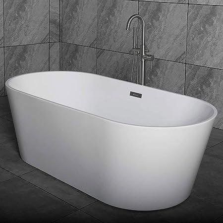 Woodbridge 59 Acrylic Freestanding Bathtub Contemporary Soaking Tub With Brushed Nickel Overflow And Drain B 0014 Bta1514 Amazon Com