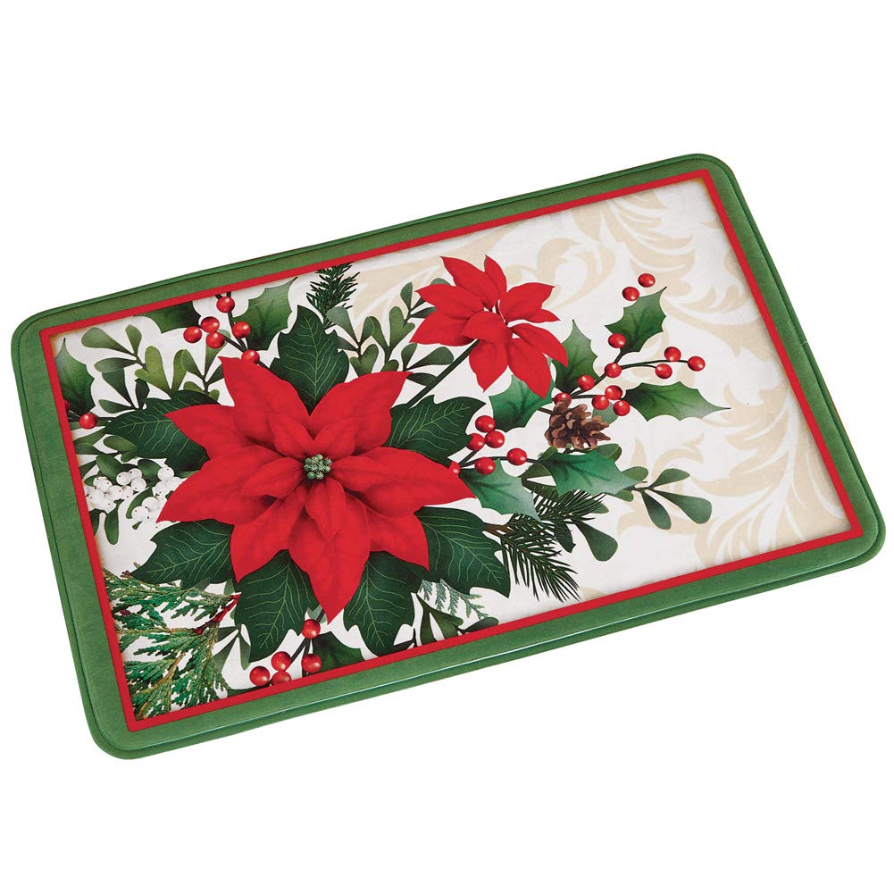 Collections Etc Poinsettia Blooms Bath Mat - Vibrant Holiday Bathroom Accent Winston Brands