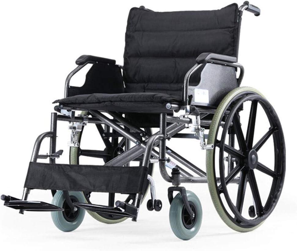 Silla de Ruedas Wheelchair Sillas de Ruedas Silla de ruedas de aluminio autopropulsada Silla de ruedas plegable Transit con frenos de mano for personas obesas, Capacidad de carga de hasta 125 kg con 2
