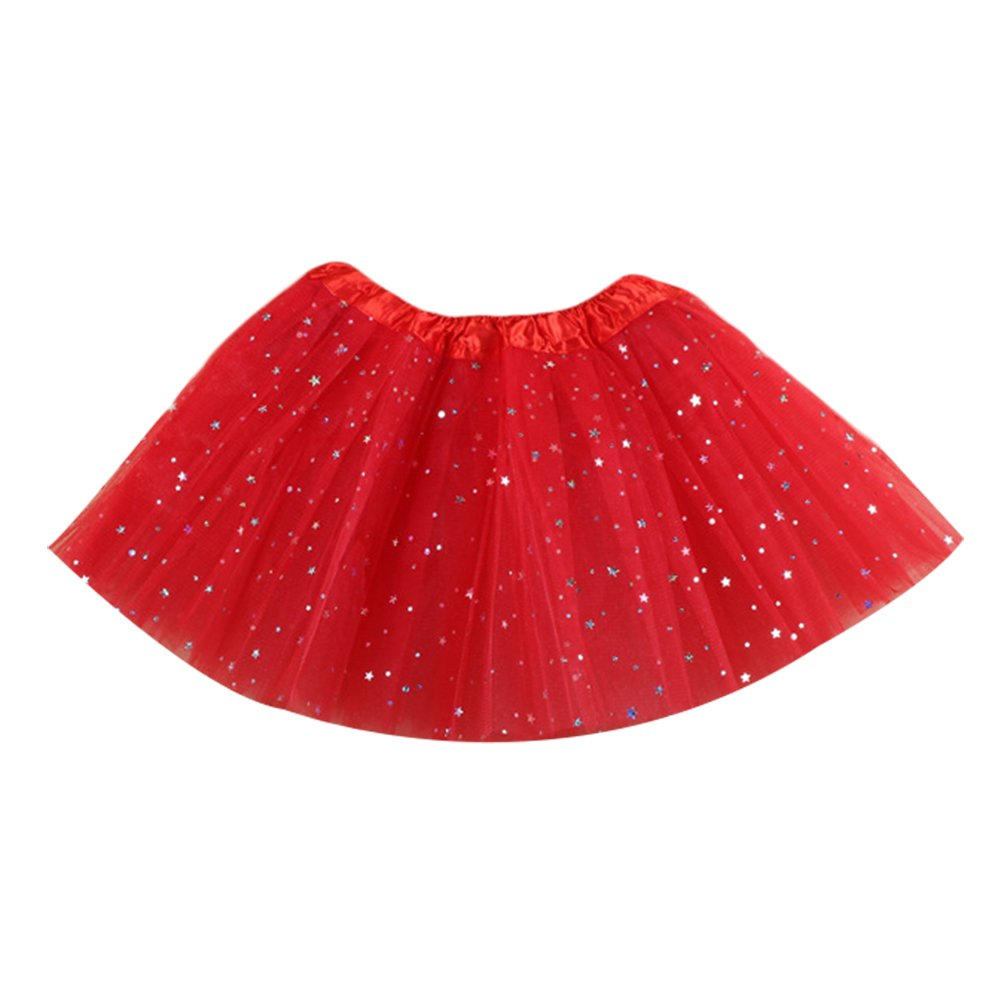 Losorn Kid Girls Dress Tutu Glitter Ballet Dress Triple Layer Soft Tulle Red