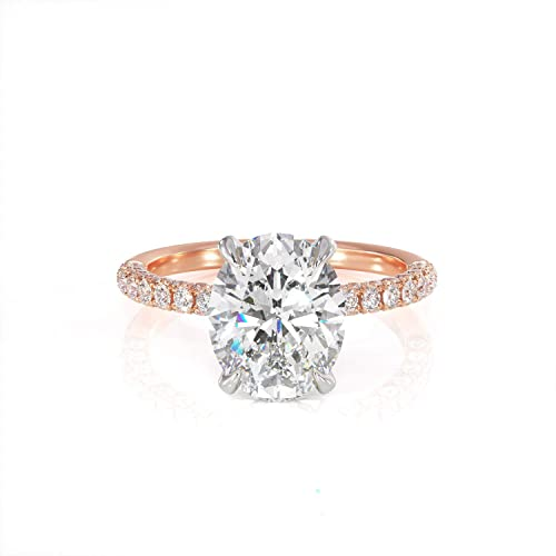 7e8c5a8625acf8 Amazon.com: 2ct Oval Moissanite and Diamond Hidden Halo Engagement Ring.  Solitaire Rose and White Gold Unique Forever One Ring: Handmade