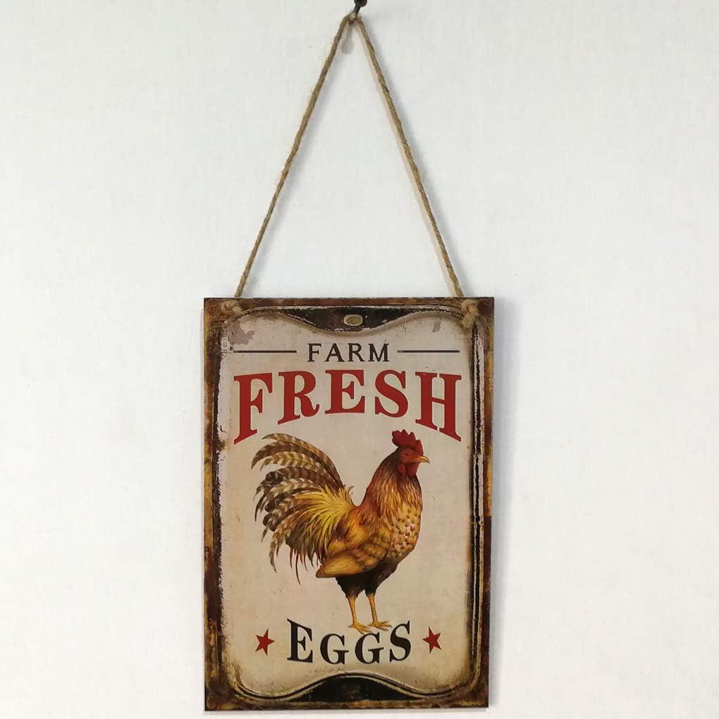 heacker Ben-gi Poule Retro Farm Fresh Eggs Lettre Plaque d/écor en Bois Mur Pendentif accroch/é Inscription Conseil pour Exploitations agricoles Plank D/écoration