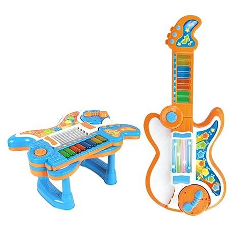 Gazechimp 2 en 1 Juegos Musicales de Guitarra Doblada Eléctrico del Piano Regalos