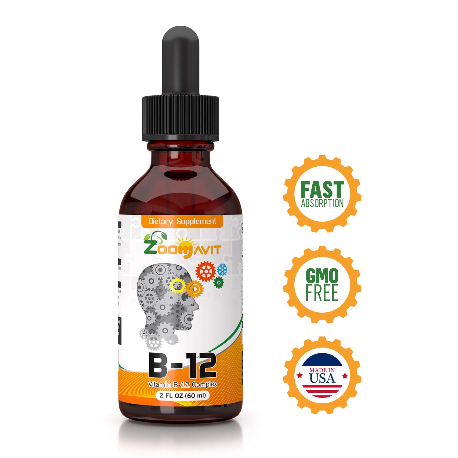 Vitamin B Complex Liquid Drops with Fast Absorption - Super B Liquid Complex Vitamins B2, B3, B5, B6 & B12 - Natural Energy Boost, Mental Focus & Healthy Immune System by Zoomavit