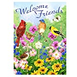 ALAZA Welcome Friends Birds Flowers Butterfly Double Sided House Flag Garden Banner 28″ x 40″, Summer Spring Flowers Daisy Hummingbirds Garden Flags for Anniversary Yard Outdoor Decoration For Sale