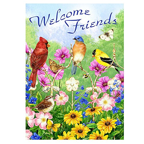 ALAZA Welcome Friends Birds Flowers Butterfly Double Sided House Flag Garden Banner 28 x 40, Summer Spring Flowers Daisy Hummingbirds Garden Flags for Anniversary Yard Outdoor Decoration
