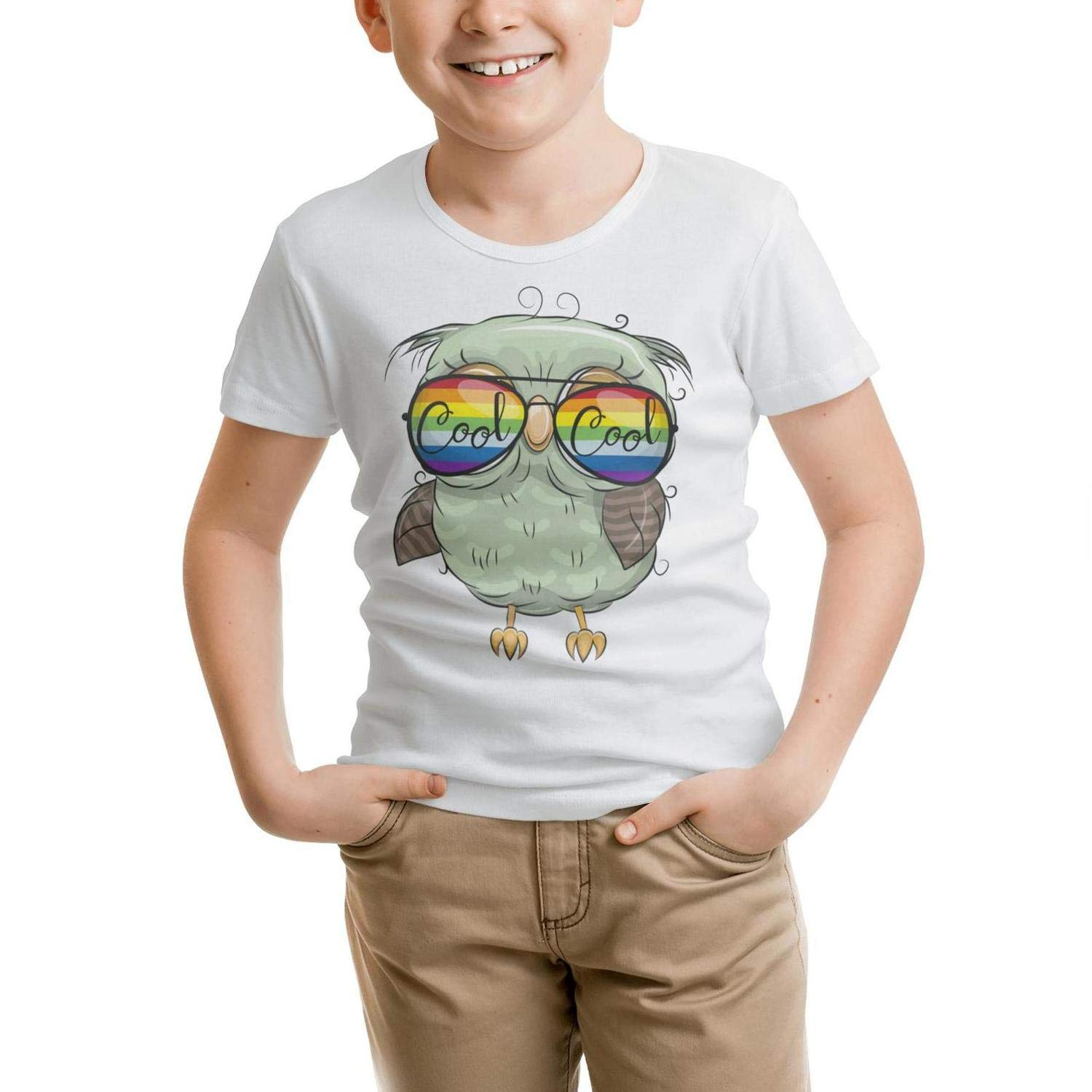 HGTYUS Boys White t Shirts Rainbow Glasses Cute Owl O-Neck Short Sleeve Cotton