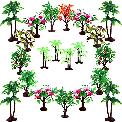 "Trees Cake Decorations, OrgMemory Model Trees with Bases, (19pcs, 3""-5.5""/7.5-14 cm), Ho Scale Trees, Diorama Supplies for Woodland Scenics or Cake Topper"