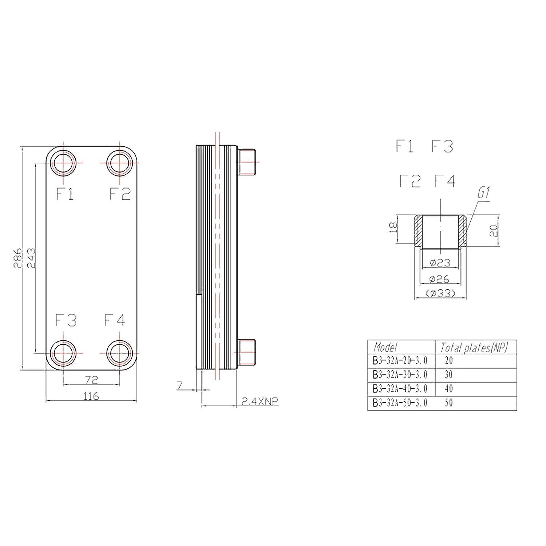 Hrale Intercambiador calor t/érmico acero inoxidable 20 placas Termocambiador placas m/áx 115 kW