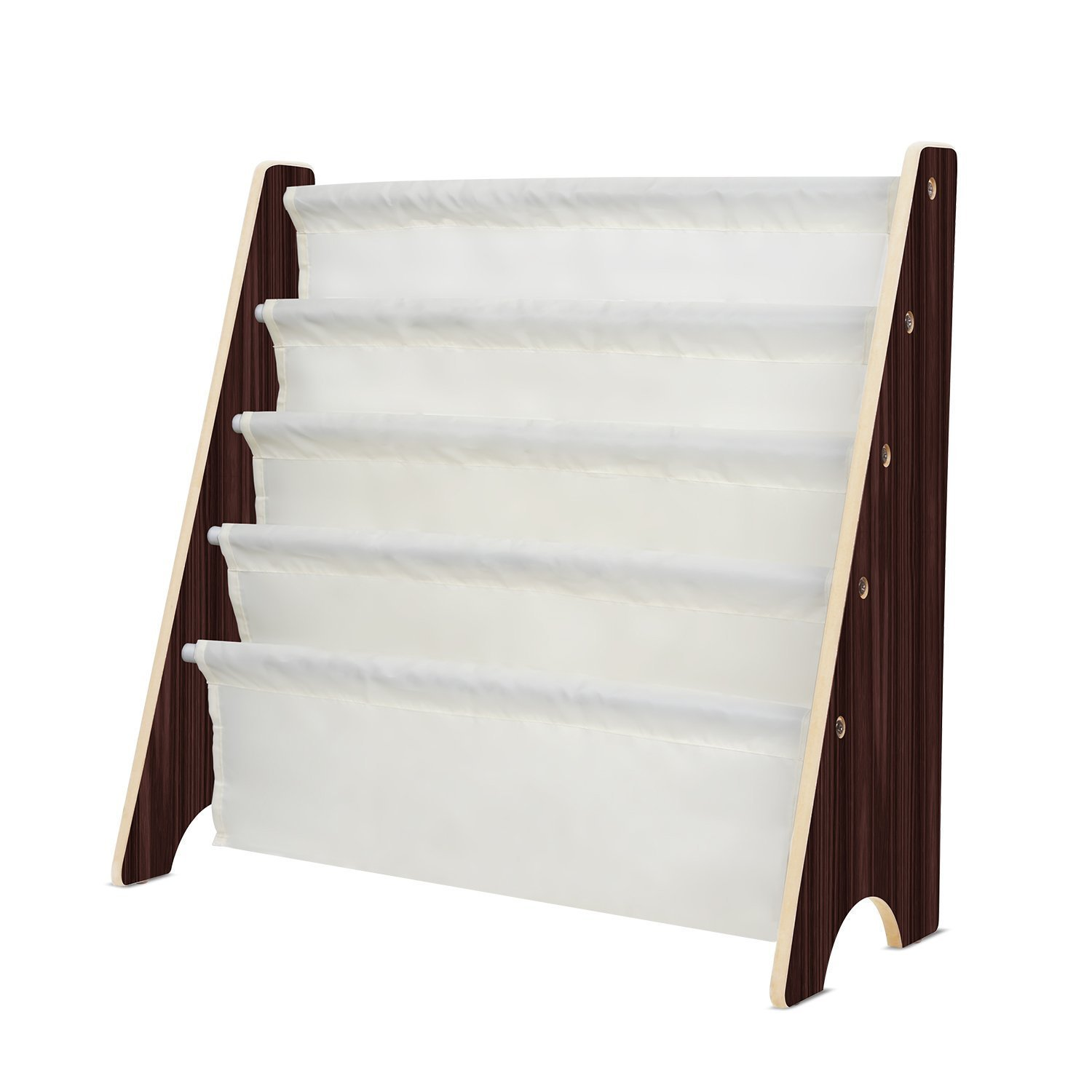 Homfa Storage Sling Bookshelf Toy Display, Espresso / White