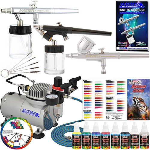 Feed Airbrush Kit (3 Airbrush Professional Master Airbrush Airbrushing System Kit with 6 U.S. Art Supply Primary Colors Acrylic Paint Artist Set - G22, S68, E91 Gravity & Siphon Feed Airbrushes and Air Compressor)