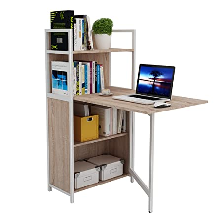 ZHIRONG Fold Computer Desk Bookshelf Writing Child Study Table Bedside Storage Combination Shelf