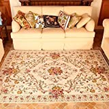 European Floral Area Rugs - MeMoreCool Beautiful Pattern Pure Color Background Anti-slipping Bottom Design Eco-friendly Material Home Carpets 79 X 98 Inch