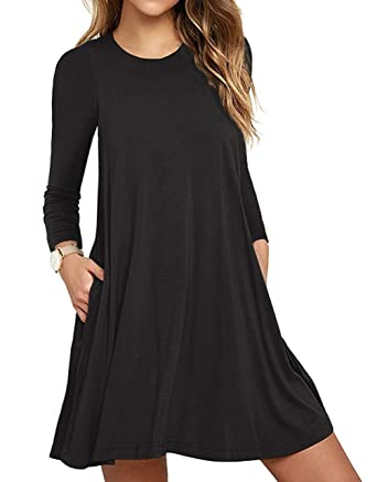 0d75325d2fc5e Unbranded  Women s Long Sleeve Pocket Casual Loose T-Shirt Dress Black X- Small