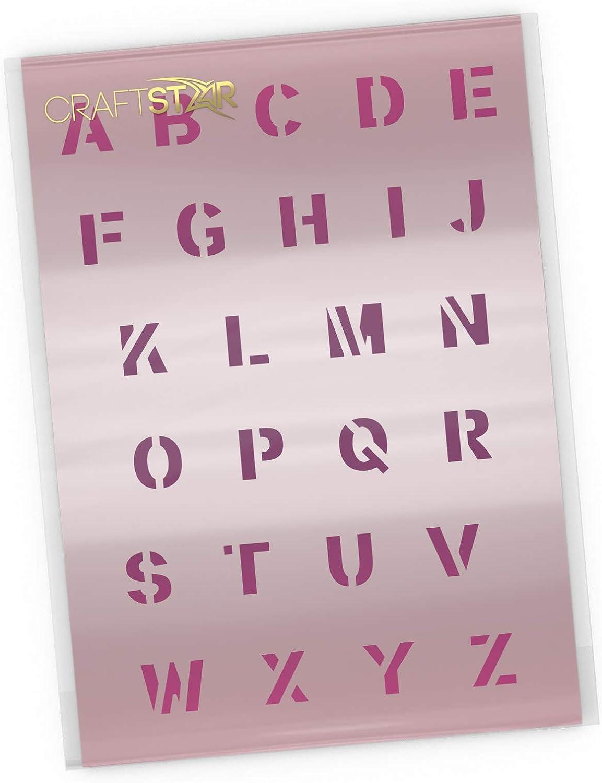 Craft  Airbrush Stencil by CraftStar 2 cm High Capital Letters Bold Alphabet Stencil