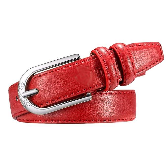 JUNJUN Cinturones Pu Cuero Rojo Plata Hebilla Señoras Correa ...