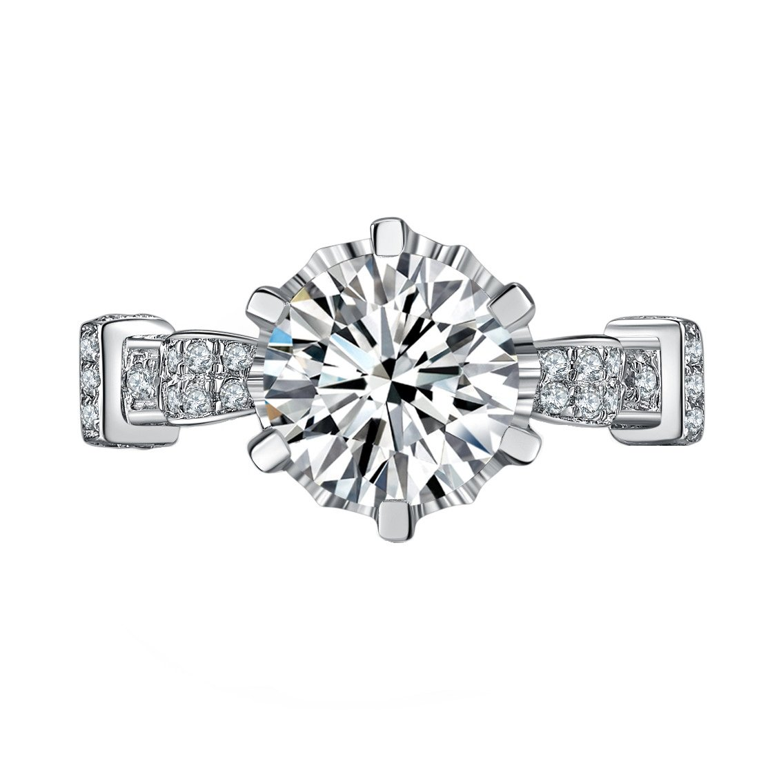 Sterling Silver Jewelry Unique Ring 3CT NSCD Simulated Diamond Ring Engagement for Women