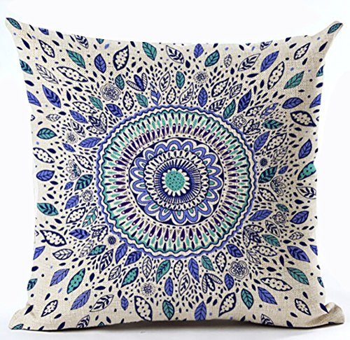 European Colorful Retro Floral Leaves Compass Medallion Cott