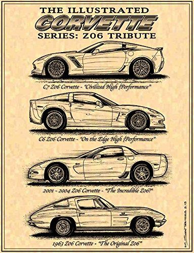 Z06 Corvette Tribute Parchment Paper Art Print (Corvette Magazine Vette Car)
