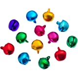 HOUSWEETY 500PCs 8x6mm Coloured Jingle Bells / Christmas Bells. Toy Making / Decorations / Crafts / Sewing / Knitting / Crochet / Jewellery Making / Christmas.
