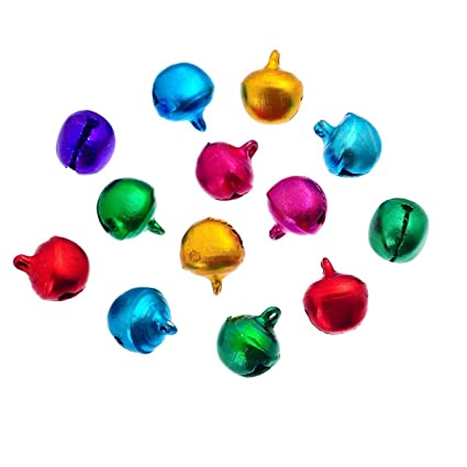 Christmas Bells.Housweety 500pcs 8x6mm Coloured Jingle Bells Christmas Bells Toy Making Decorations Crafts Sewing Knitting Crochet Jewellery Making