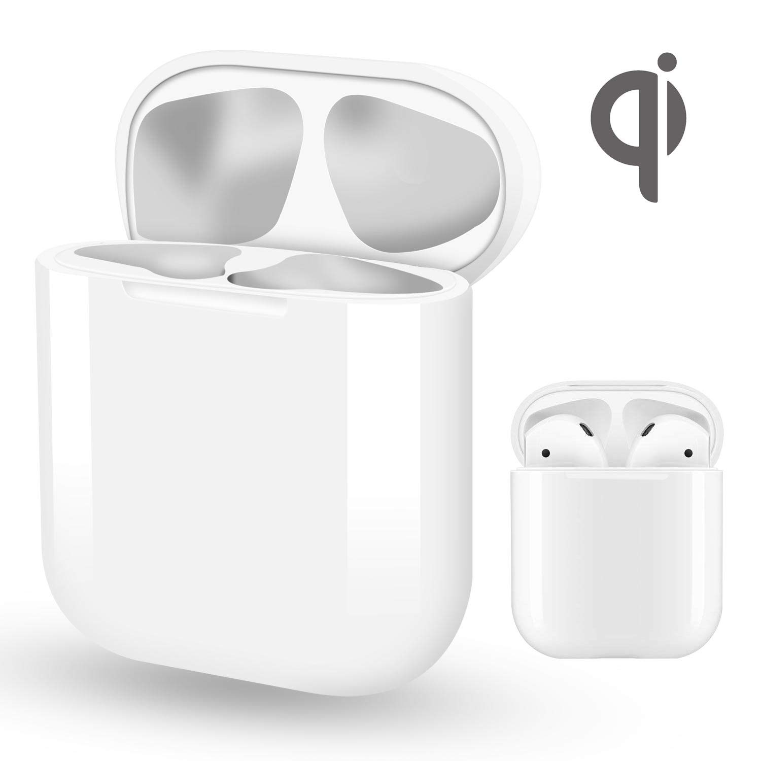 Wireless Charging Case Compatible with Airpods & Airpods 2, Air pod Charger Supply 5 Times Charge, QI Efficient Charging and Protect Earphones - NO SYNC Button NO Bluetooth