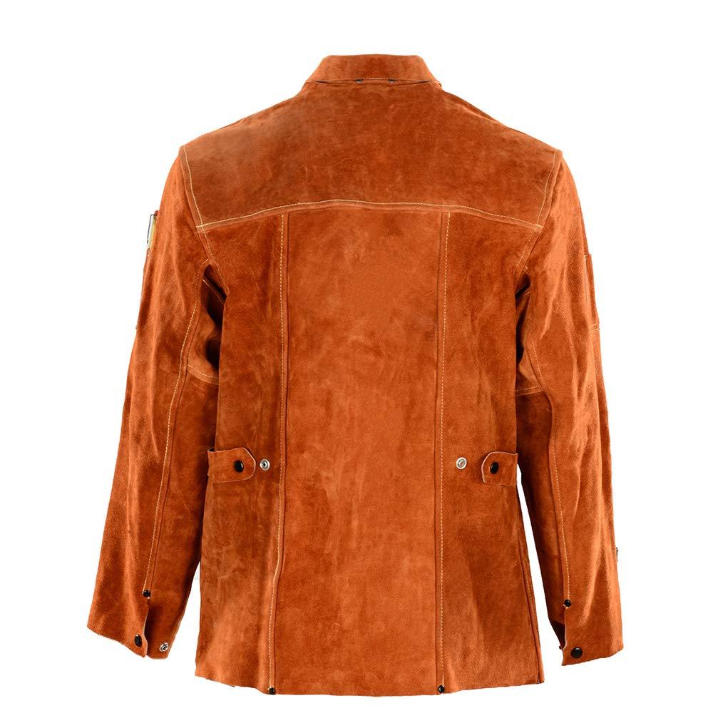 QeeLink Leather Welding Work Jacket Flame-Resistant Heavy Duty Split Cowhide Leather (Large) Brown by QeeLink (Image #4)