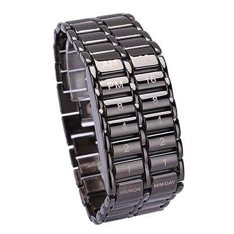 Cutowin - Reloj de pulsera de cuarzo digital con LED binario para hombre, diseño de