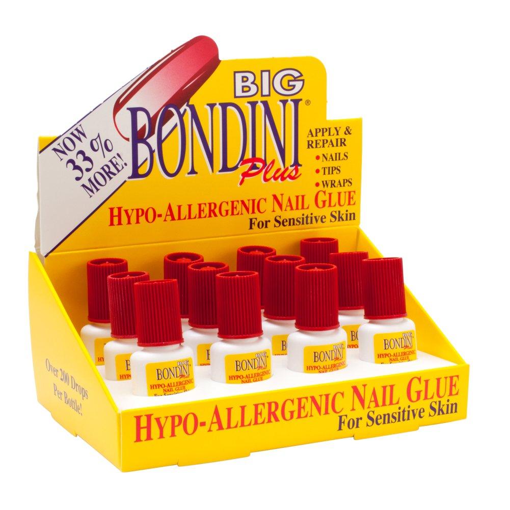Big Bondini Plus All Purpose Hypo-Allergenic Nail Glue 0.14 oz 12 Bottle Display USA
