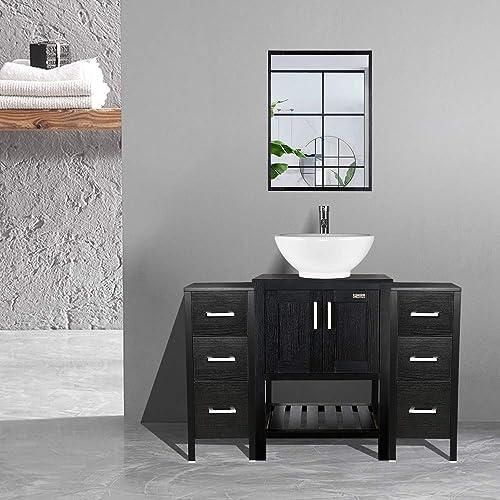 LUCKWIND Bathroom Vanity Side Cabinet Storage Organizer Lavatory Vanity Stand Drawers Wooden Smooth Glide Brush Nickel Handle Moisture Proof Pull Liner Narrow Slim Matte Brown 30 20 12
