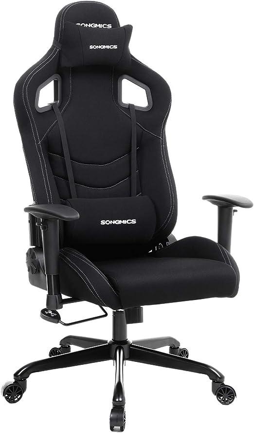 Chaise de Bureau RCG03H Racing et avec Songmics siège Coussin Noir Fauteuil Sport Support Lombaire SVpqUzM