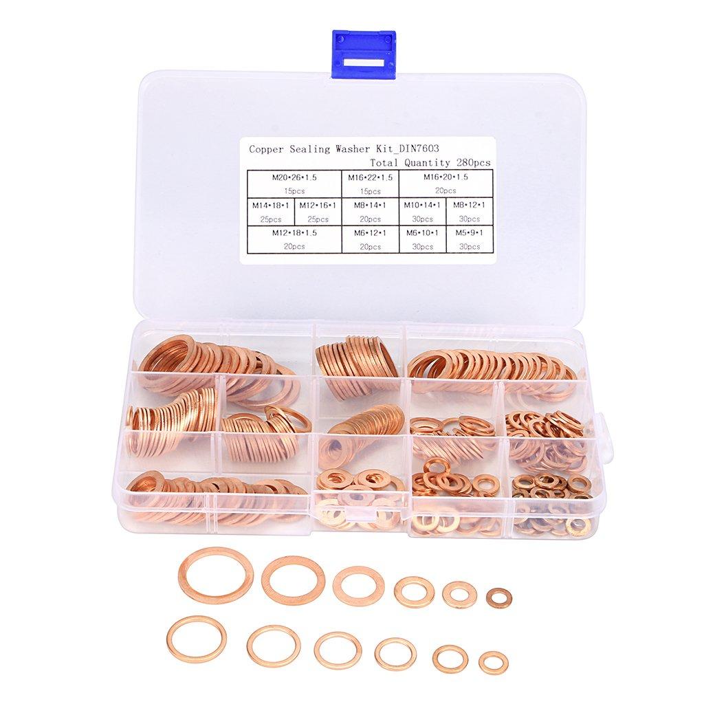 Sumnacon Copper Flat Washers 12 Sizes, Metric Lock Sealing Washers Assortment Set - Size Includes M5 M6 M8 M10 M12 M14 M16 M20 by Sumnacon