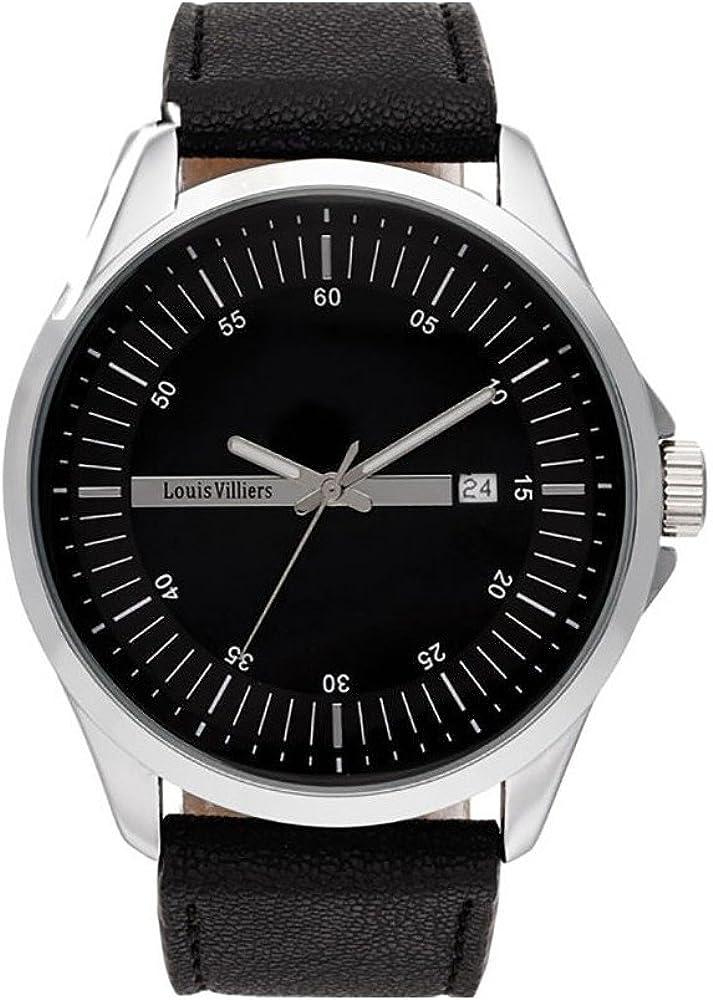Louis Villiers Reloj Analógico para Unisex Adultos de Cuarzo con Correa en Acero Inoxidable AG3804-01