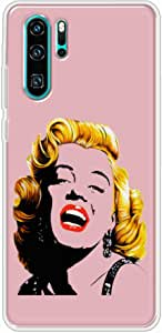 Okteq Clear TPU Protection and Hybrid Rigid Clear Back Cover Case Printed Compatible with Huawei P30 pro- marline light pink By Okteq