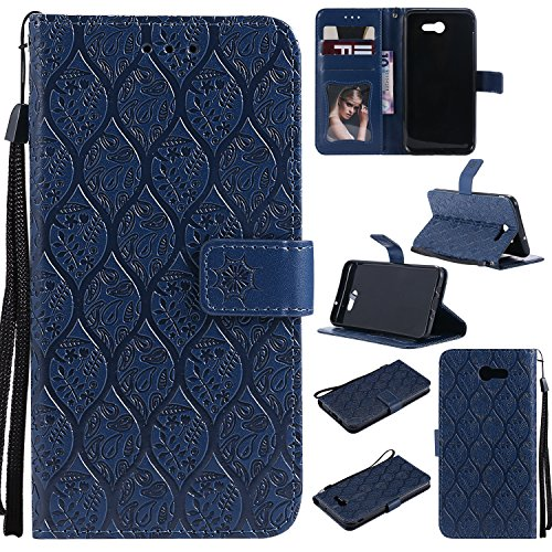 Galaxy J7 2017 Wallet Case,J7 V Case,MOONESS Embossing Fashion PU Leather Case,Magnetic Flip Kickstand Cover Card Holders & Hand Strap for Samsung Galaxy J7 2017(T-DarkBlue) (Leather Strap Wallet)