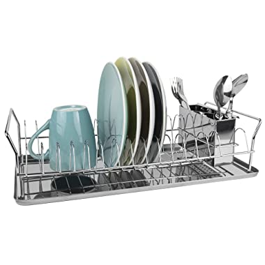 Home Basics Chrome Plated Steel Compact Dish Drainer with Raised Handles, Silver