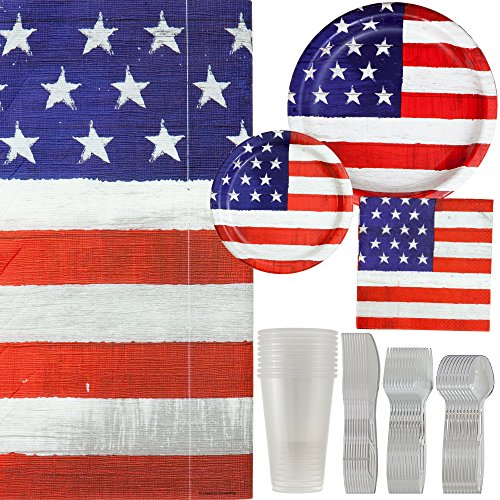 American Flag Rustic Party Supply Kit; Banquet Plates, Dessert Plates, Luncheon Napkins, Premium Clear Cups, Strong Forks, Reliable Spoons, Steady Knifes & Large Table Cloth | Serves 10 Guest. American Folk Flag