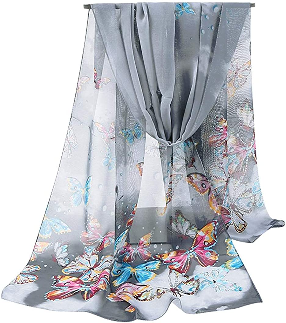 GERINLY Women Scarves Cute Butterflies Sheer Chiffon Scarf Soft Travel Wedding Shawl Mother's Gift