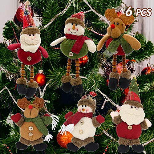 Lulu Home Christmas Tree Ornaments, Xmas Hanging Plush Decorations Holiday Party Santa, Snowman, Reindeer (Looking For Ornaments Christmas)
