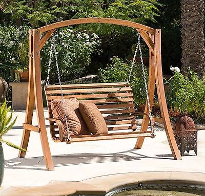 NEW Outdoor Patio Furniture Stained Wood Swinging Bench and Base