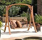Cheap NEW Outdoor Patio Furniture Stained Wood Swinging Bench and Base